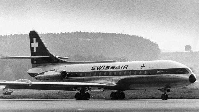 Swissair possédait 8 appareils de type SE-210 Caravelle III du constructeur français Sud-Aviation, capables de transporter 80 passagers. Ils ont été exploités en Europe entre 1960 et 1971. [Keystone]