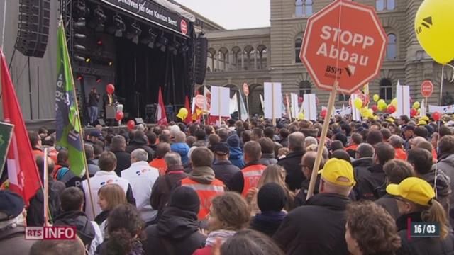 Enseignants et employés de la fonction publique se sont mobilisés dans le canton de Berne