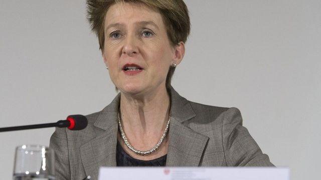 Simonetta Sommaruga, cheffe du Département de Justice et Police. [Lukas Lehmann - Keystone]
