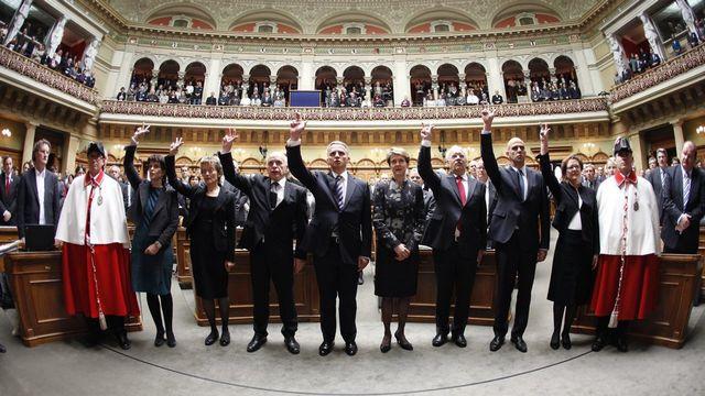Selon un sondage, les Suisses refuseraient l'élection du Conseil fédéral par le peuple. [Ruben Sprich - Pool/Keystone]