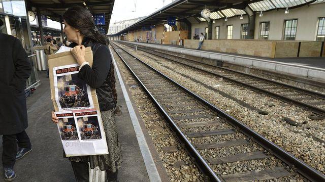 Le collectif 500 lutte contre l'agrandissement en surface de la gare Cornavin. [Martial Trezzini - Keystone]