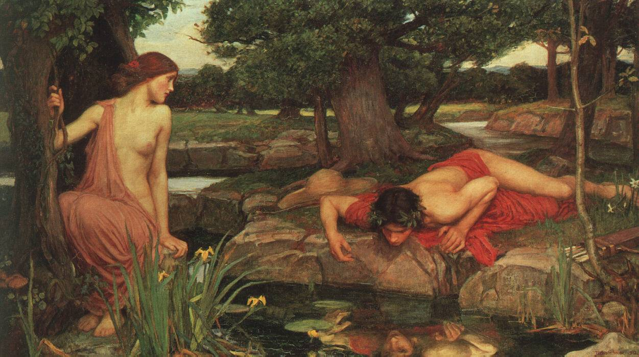Narcisse et Echo, une oeuvre du peintre John William Waterhouse.