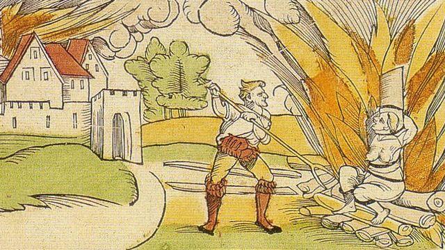 """Une illustration de 1533 relatant l'exécution d'une sorcière accusée d'avoir brûlé la ville de Schiltach en 1531. [""""Briefmaler"""": Stefan Hamer; Holzschnitt: Erhard Schön]"""