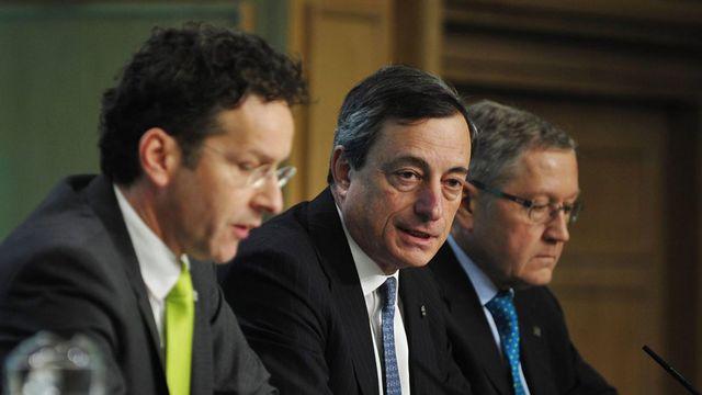 Le président de la Banque centrale européenne, Mario Draghi, au centre. [Aidan Crawley - Keystone]