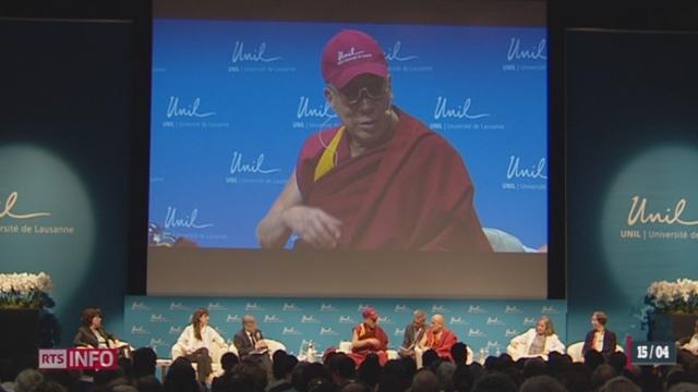 Le Dalaï Lama donnait une conférence à Lausanne ce lundi [RTS]