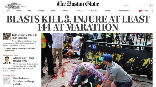 """""""A nouveau frappés"""", écrit l'éditorialiste du Boston Globe. [bostonglobe.com]"""