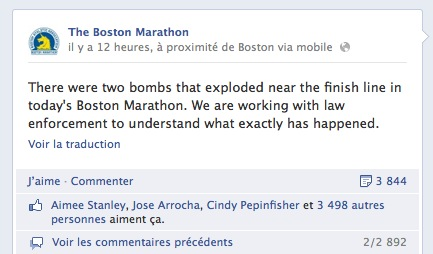 La page Facebook du marathon de Boston.