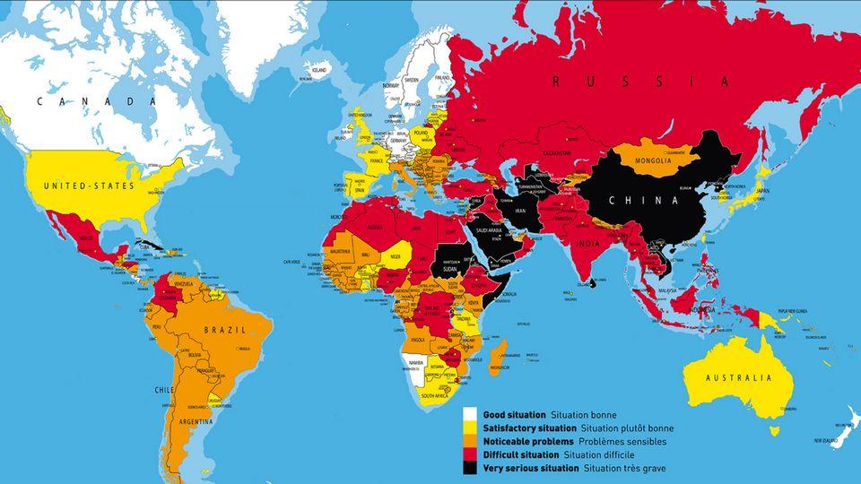 La liberté de la presse dans le monde en 2013. [Reporters sans frontières]
