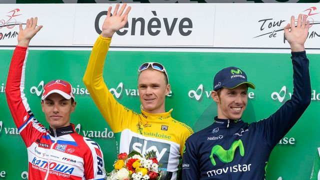 Vainqueur du Tour de Romandie, Christopher Froome (au centre) n'a pas failli à son rang de favori. [Keystone]