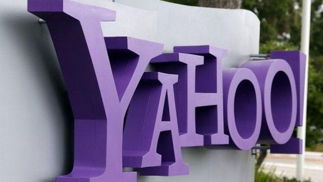 Le logo du groupe internet américain Yahoo! à l'entrée du siège de Sunnyvale, le 17 juillet 2012 en Californie. [AFP]