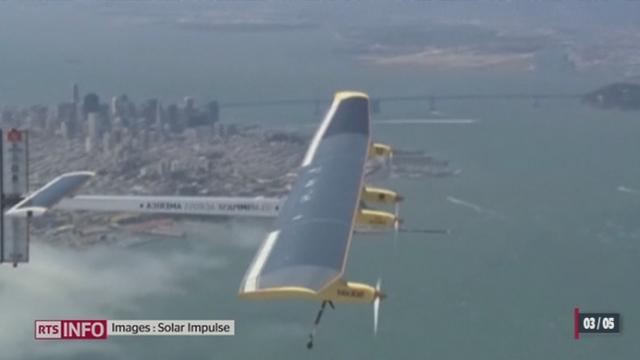 Solar Impulse: l'avion solaire de Bertrand Piccard a commencé sa traversée des Etats-Unis [RTS]