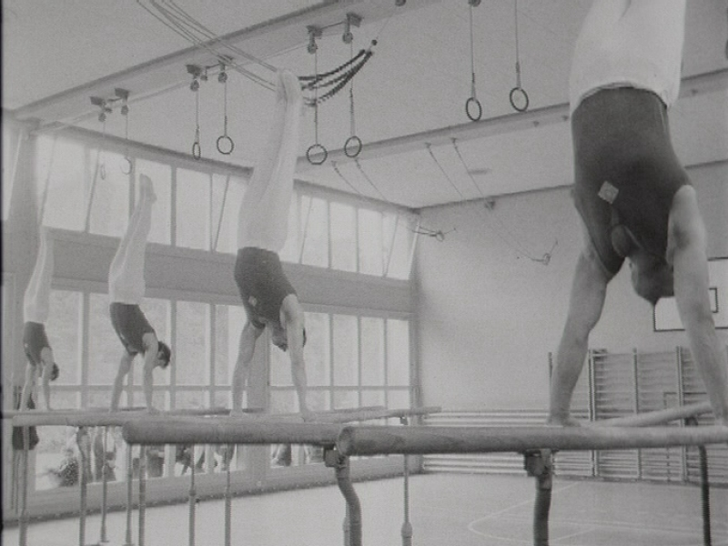 Entraînement de la section de gymnastique de Morges en 1967.