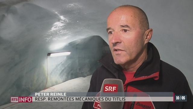 Pour ralentir la fonte de la glace, les exploitants du glacier du Titlis vont refroidir la grotte touristique [RTS]