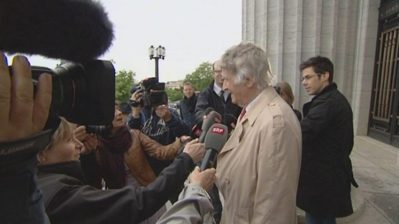 La joie de Franz Weber à la sortie du Tribunal fédéral [RTS]