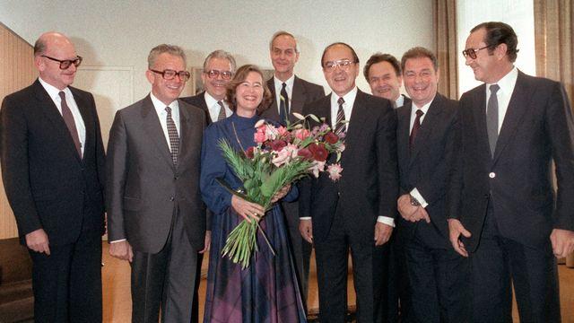 L'élection d'Elisabeth Kopp au Conseil fédéral en 1984. [STR - Keystone]