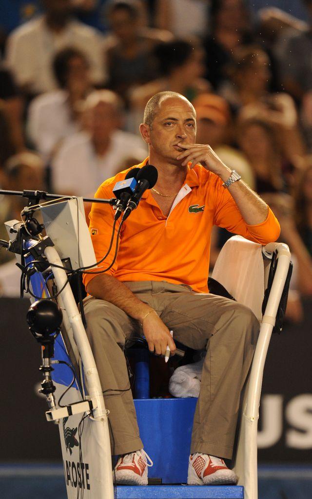 Pascal Maria dans ses oeuvres lors de l'Open d'Australie 2012. [Greg Wood - AFP]