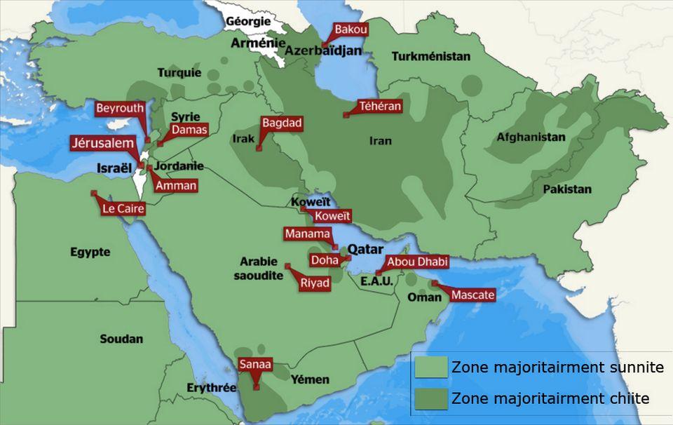 Carte des zones sunnites et chiites au Moyen-Orient. [RTS]