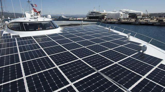 PlanetSolar, en mars 2013, au port de La Ciotat en France.  Jean-Christophe Bott Keystone [Jean-Christophe Bott - Keystone]