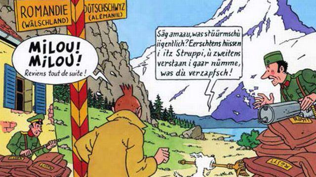 La Bibliothèque cantonale et universitaire de Fribourg accueille une exposition inédite et insolite du 6 juin au 27 octobre 2013, intitulée « Tintin à Fribourg. Dits et interdits ». [BCU Fribourg]