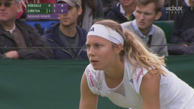 Simple dames (1er tour): Stefanie Voegele (SUI) - Sorana Cirstea (ROU-22). La Suissesse fait le break pour mener 6-5 dans la seconde manche [RTS]
