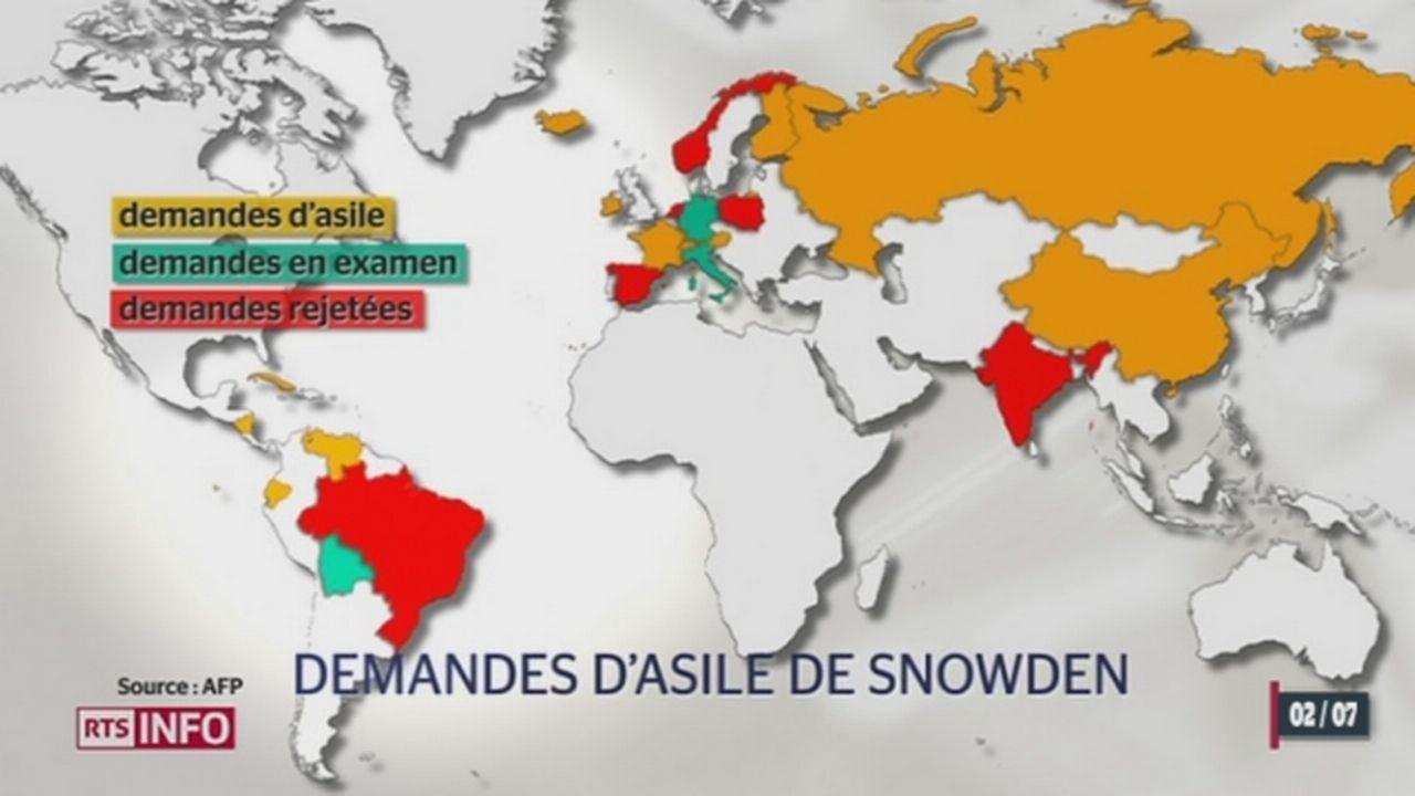 Edward Snowden demande l'asile auprès de 21 pays [RTS]