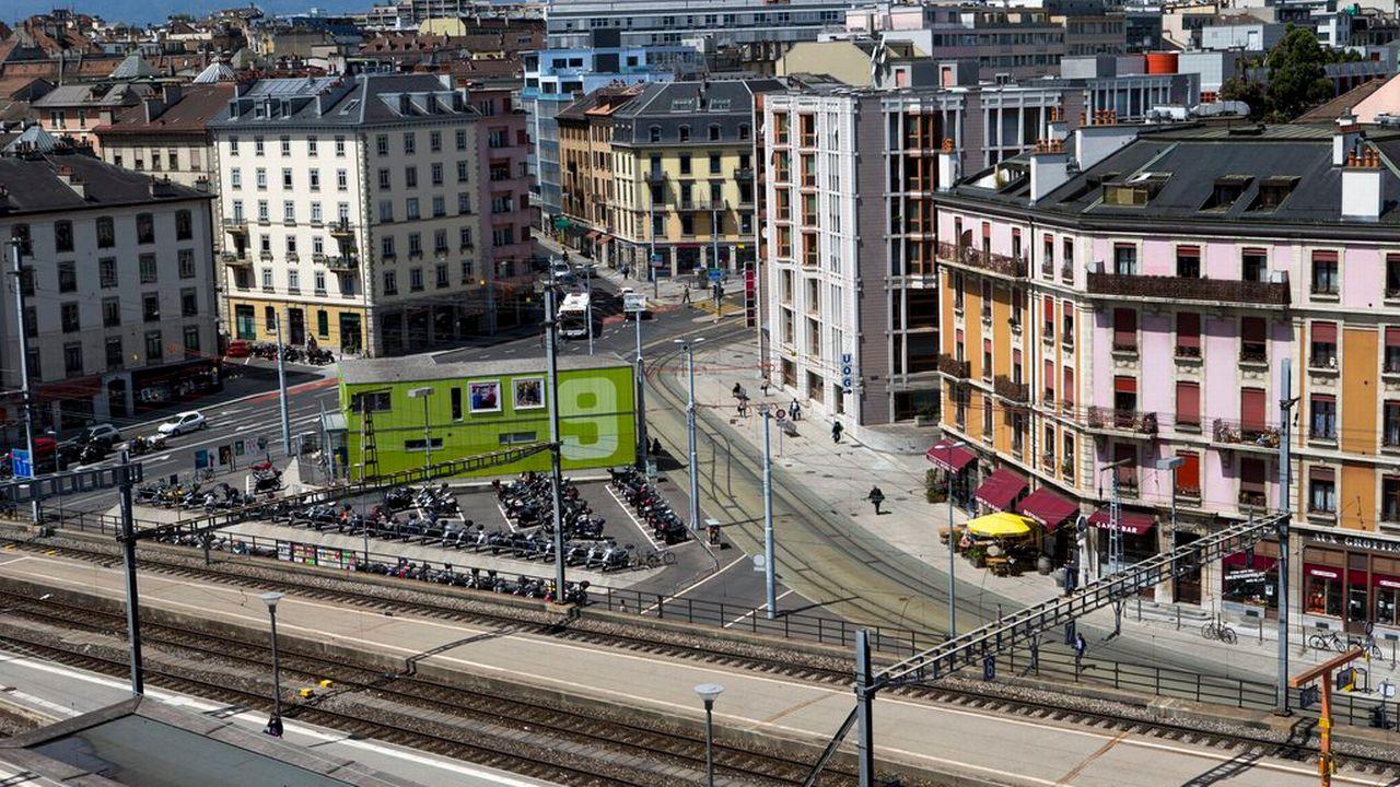 Le quartier des Grottes à Genève est voué à la disparition, selon le projet d'extension de la gare. [Salvatore Di Nolfi - Keystone]