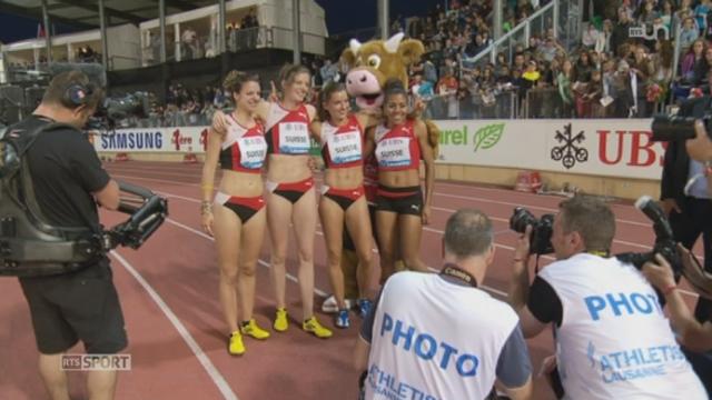 Athletissima: l'équipe suisse de relais 4 x 100m féminin établit un nouveau record national en remportant la course [RTS]