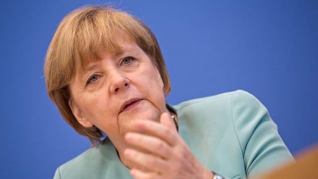 Angela Merkel s'est exprimée sur le scandale de la NSA. [Rainer Jensen - EPA/Keystone]