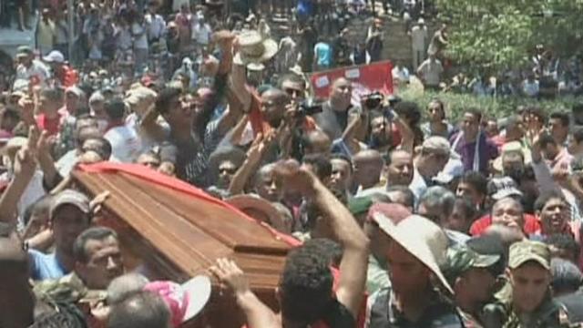 Marée humaine pour les funérailles de Brahmi en Tunisie [RTS]