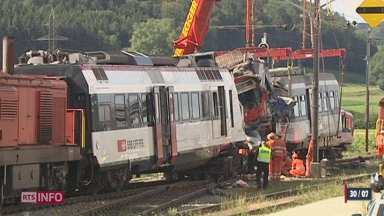 Collision de trains sur la ligne Payerne-Moudon: l'accident serait du à une erreur humaine [RTS]