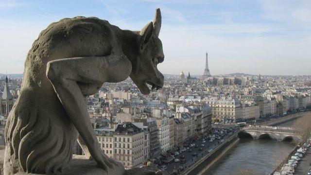 Une gargouille sise au sommet de la cathédrale Notre-Dame de Paris. [France Télévisions]