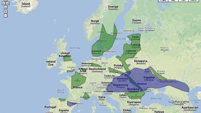 La carte des bassins de gaz de schiste en Europe [RTS]