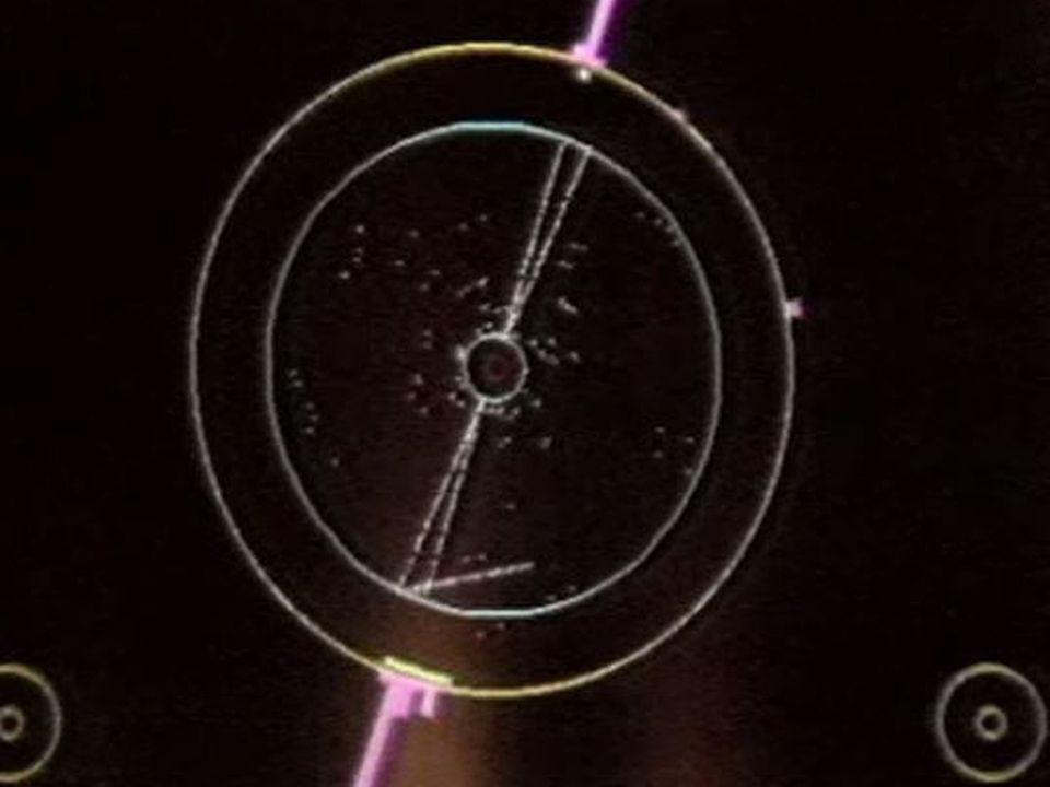 Collision de particules capturée sur l'écran de l'ordinateur [TSR, 1989]