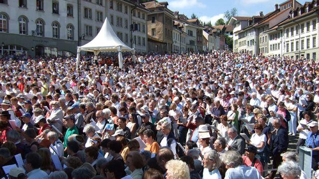 La Schubertiade de Fribourg, 2007. La Messe allemande chantée à la Planche-Supérieure [Marcel Julmy RSR]