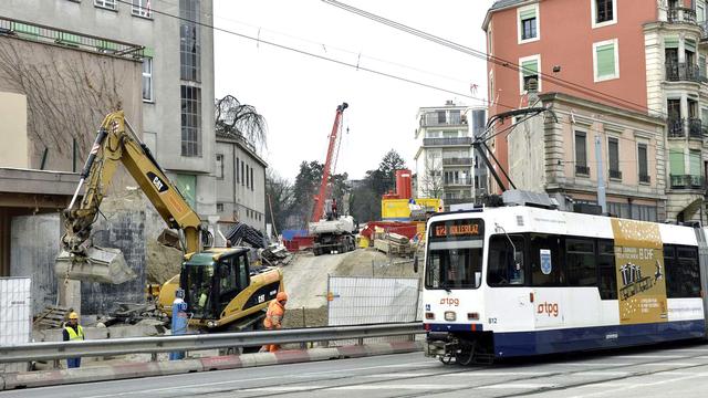 Entre trams et CEVA, les transports genevois sont en pleine mutation. [Keystone]