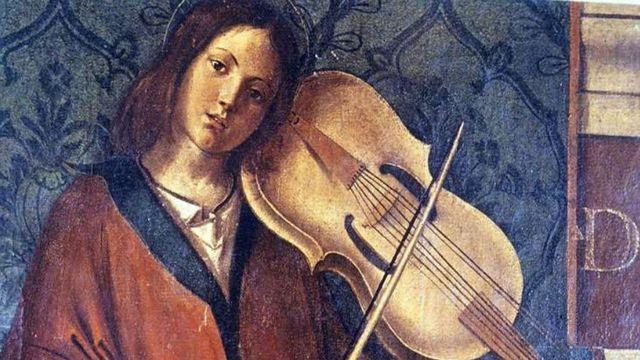 """B. Montagna, détail de la Madone trônant entouré de saints et d'anges - Milan, Pinacothèque de Brera - Musique en Mémoire """"La lira da braccia"""", diffusion 16-20.09.2013 [Wikimedia]"""