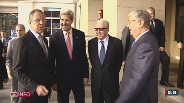 John Kerry, Sergueï Lavrov et Lakhdar Brahimi se sont rencontrés au Palais des Nations à Genève [RTS]