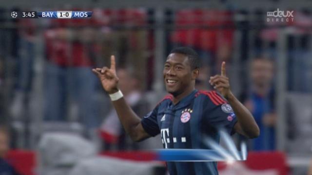 1re journée. Gr. D. Bayern Munich - CSKA Moscou (1-0). Il ne faut que 3 minutes aux Bavarois pour ouvrir le score sur un coup franc d'Alaba [RTS]