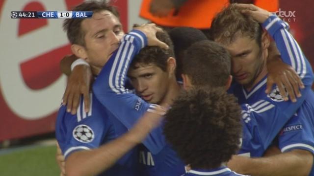 1re journée. Gr. E. Chelsea - FC Bâle (1-0). 45e minute: Oscar ouvre le score pour les Londoniens [RTS]