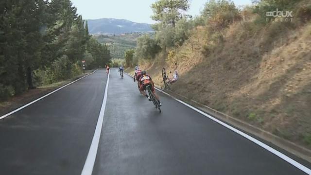 Messieurs (272 km). Terrible chute de Rigoberto Uran (COL) à 9,1 km de l'arrivée [RTS]
