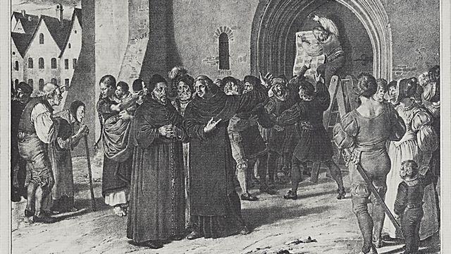 Luther appose ses 95 thèses sur la porte de la chapelle du château de Wittenberg. (tableau d'Adolph von Menzel)