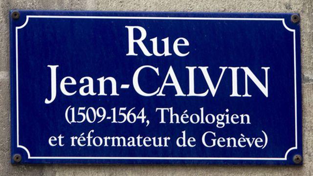Plaque de la rue Jean-Calvin, à Genève. Salvatore di Nolfi Keystone [Salvatore di Nolfi - Keystone]