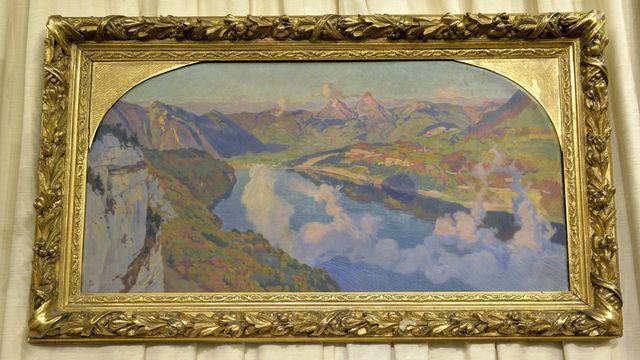 Le tableau avait été offert il y a plus d'un siècle au président de la Confédération Adrien Lachenal par l'artiste. [Martial Trezzini - Keystone]