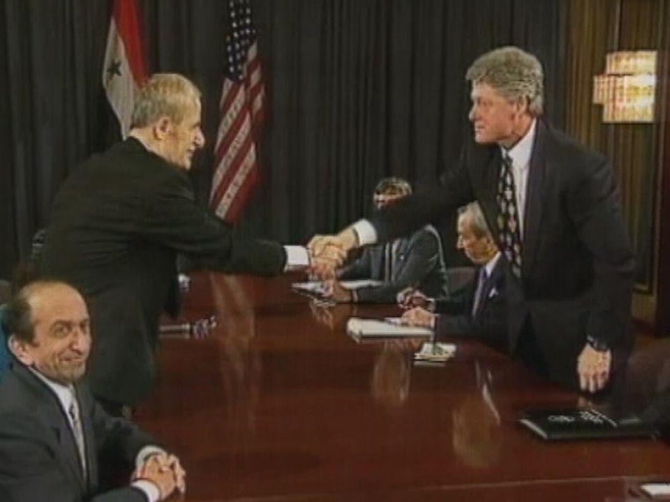 Au sommet Assad Clinton en 1994 à Genève. [RTS]