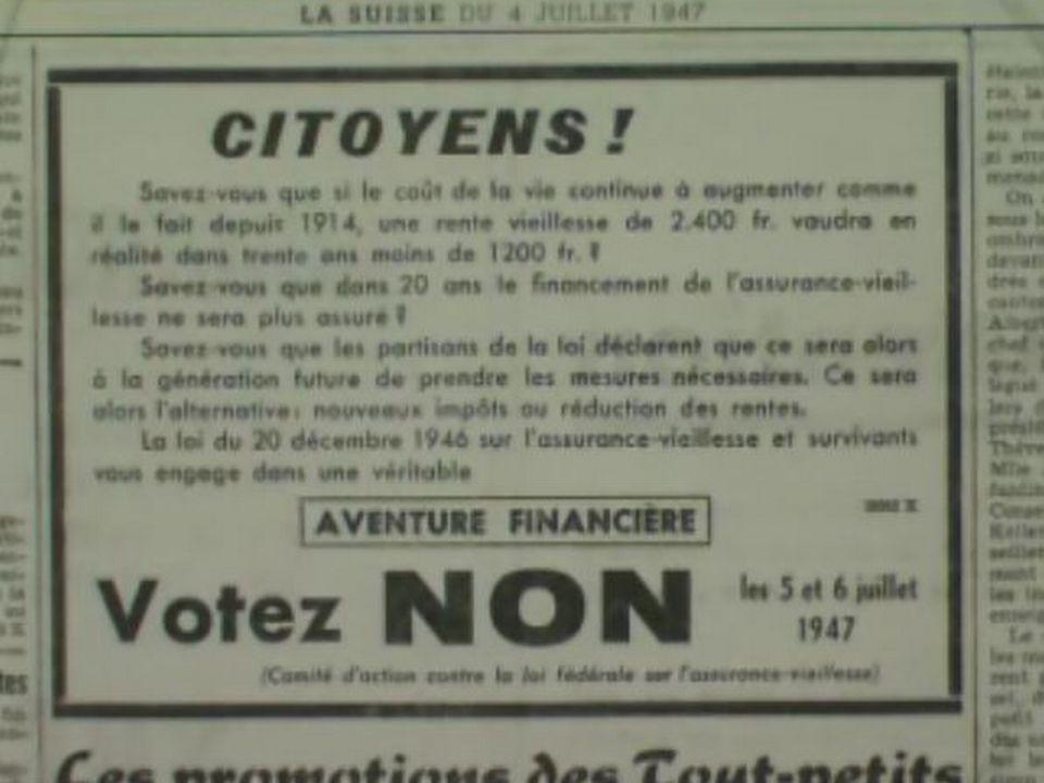 Campagne avant la votation sur l'AVS, 1947. [RTS]