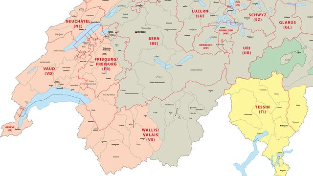 La carte des différentes zones linguistiques de la Suisse. [lesniewski - Fotolia]