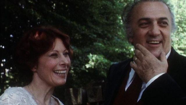 Federico Fellini et Magali Noël en 1976. [RTS]