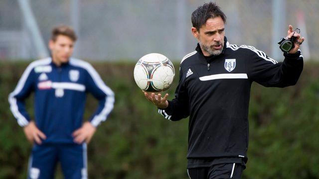 Marco Simone lors de son premier entraînement à Lausanne. [Jean-Christophe Bott - Keystone]
