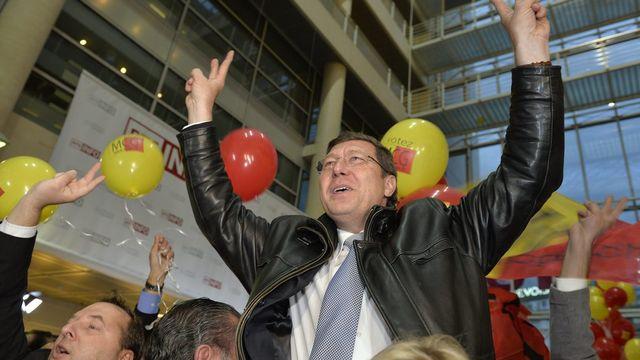 Premier élu au Conseil d'Etat genevois, le MCG Mauro Poggia est l'un des héros du jour. [Martial Trezzini - Keystone]