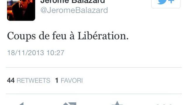 """Capture d'écran du tweet de Jérôme Balazard, journaliste à """"Libération"""" qui a donné l'alerte en premier. [Twitter]"""